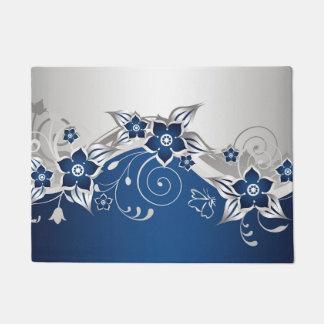青いおよび銀製灰色の花柄の玄関マット ドアマット