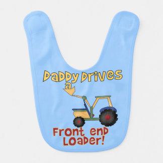青いお父さんは前部分積込み機のよだれかけを運転します ベビービブ