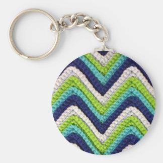 青いかぎ針編みシェブロン キーホルダー