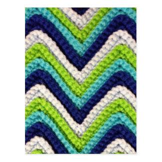 青いかぎ針編みシェブロン ポストカード
