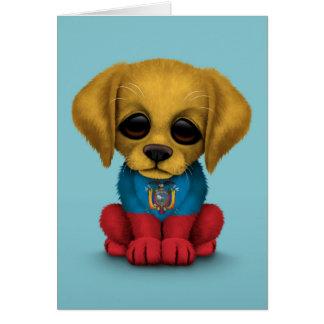 青いかわいく愛国心が強いEcuadorianの旗の小犬 カード