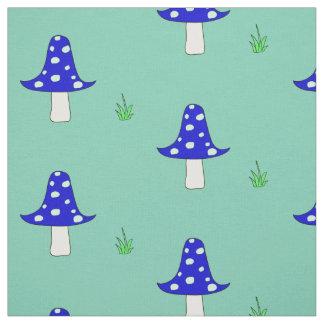 青いきのこパターン生地 ファブリック