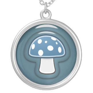 青いきのこ シルバープレートネックレス