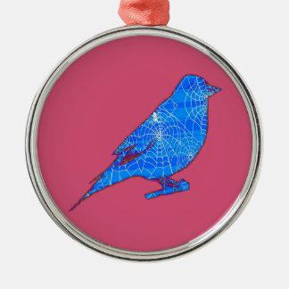 青いくもの巣の鳥 メタルオーナメント