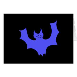 青いこうもりの漫画。 黒い背景 カード