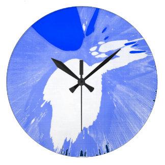 青いしぶき ラージ壁時計