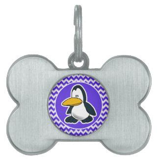 青いすみれ色のシェブロンのかわいいペンギン ペットネームタグ