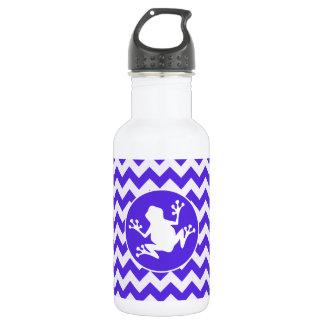 青いすみれ色のシェブロンのカエル ウォーターボトル