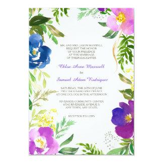 青いすみれ色の庭のフォーマルな結婚式 カード
