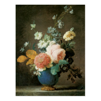 青いつぼのバラ、Ranunculusおよび他の花 ポストカード