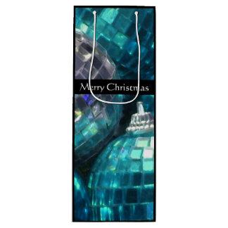 青いつまらないもののメリークリスマスのギフトバッグのワインの黒 ワインギフトバッグ