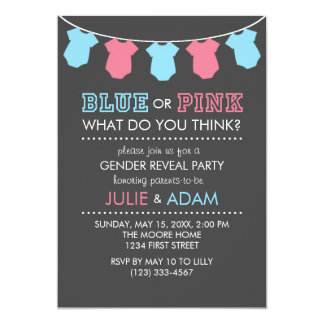 青いですかピンクの性はパーティの招待の灰色を明らかにします カード