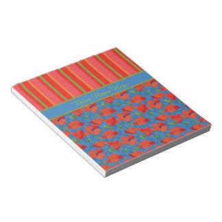 青いの深紅のケシ、赤い、緑のストライプ ノートパッド