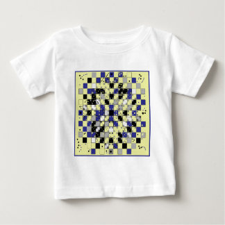 青いの目の錯覚パターン、黄色い、灰色 ベビーTシャツ