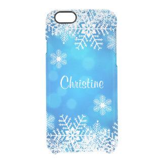 青いはっきりクリスマスの雪片のiPhone6ケース クリアiPhone 6/6Sケース