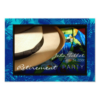 青いやしを搭載する熱帯退職の招待状 カード