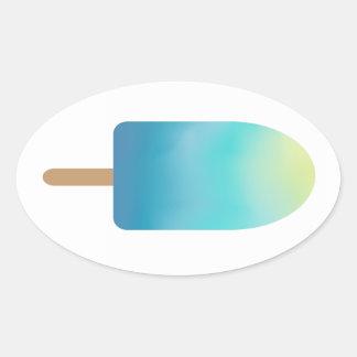 青いアイスキャンデーの夏によって凍っていられている御馳走 楕円形シール
