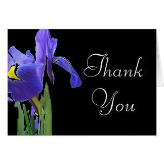 青いアイリス花柄は感謝していしています カード