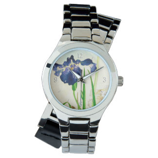 青いアイリス-日本のな水彩画のプリント 腕時計