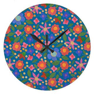 青いアクリルの柱時計の民芸のスタイルの花柄 ラージ壁時計