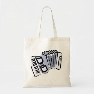 青いアコーディオンの写実的なイメージのデザイン、音楽 トートバッグ