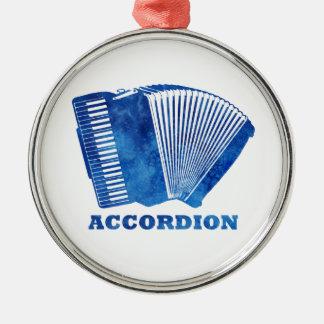 青いアコーディオン シルバーカラー丸型オーナメント