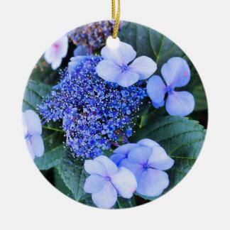 青いアジサイの花のオーナメント セラミックオーナメント