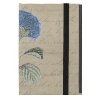 青いアジサイの花のヴィンテージの書道 iPad MINI ケース