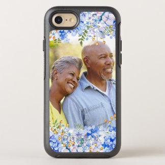 青いアジサイの花の写真のボーダー オッターボックスシンメトリーiPhone 8/7 ケース