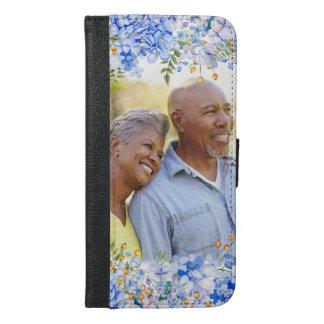 青いアジサイの花の写真のボーダー iPhone 6/6S PLUS ウォレットケース