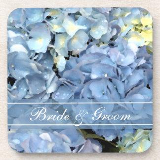青いアジサイの花の結婚式 ビバレッジコースター