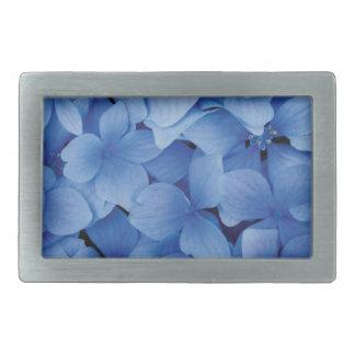 青いアジサイの花 長方形ベルトバックル