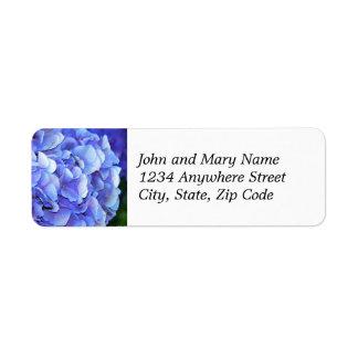 青いアジサイの開花の花柄の差出人住所ラベル ラベル