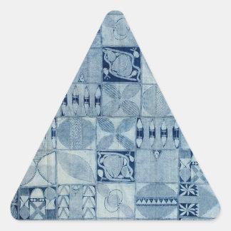 青いアフリカの織物 三角形シール