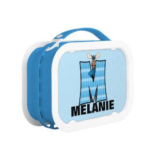 """青いアメリカヘラジカモノグラムのな""""M""""のカムフラージュ ランチボックス"""