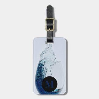 青いアルコール飲料のモノグラム旅行ガラス ラゲッジタグ