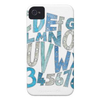 青いアルファベット iPhone 4 カバー
