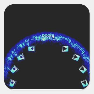 青いアーチのRoofyのラジオの演劇のロゴのステッカー スクエアシール