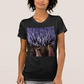 青いアーティチョークの花の葉のマクロ写真 Tシャツ