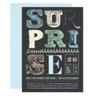 青いアールデコのびっくりパーティの大人の誕生日の招待 カード