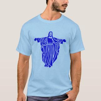青いイエス・キリストのエアブラシの芸術のティー Tシャツ