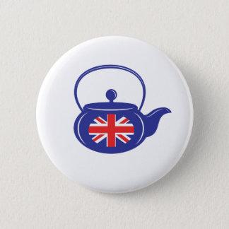 青いイギリスのティーポットボタン 5.7CM 丸型バッジ