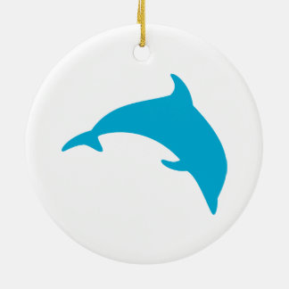 青いイルカのシルエットの跳躍 セラミックオーナメント