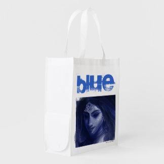 青いインドの女性 エコバッグ