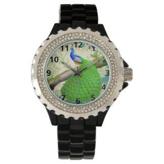 青いインドの孔雀のラインストーンの腕時計 腕時計