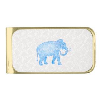 青いインドパターン象 ゴールド マネークリップ