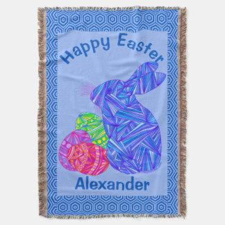 青いイースターのウサギのイースターエッグのカラフルなウサギのおもしろい スローブランケット