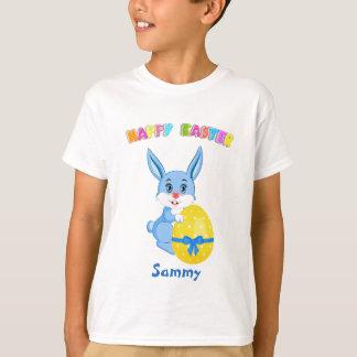 青いイースターのウサギの漫画 Tシャツ