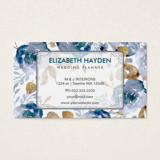 青いウェディングプランナーのヴィンテージの花柄のbusinesscard 名刺