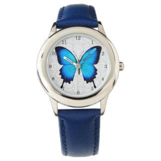 青いウリッセースの蝶子供の腕時計 腕時計